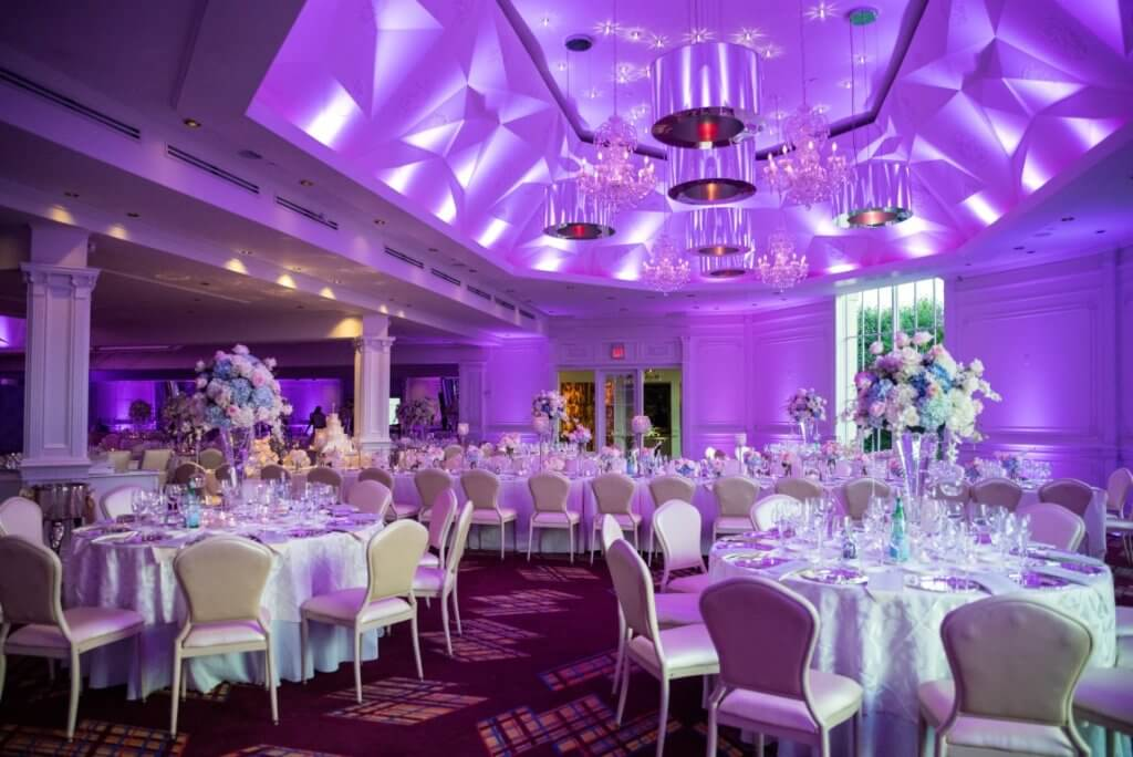 Reception area with modern purple lights