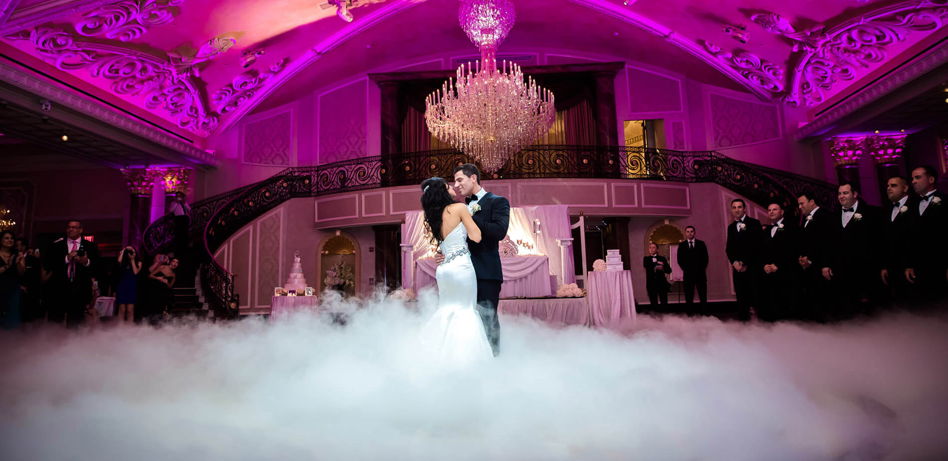 bride and groom dance on clouds