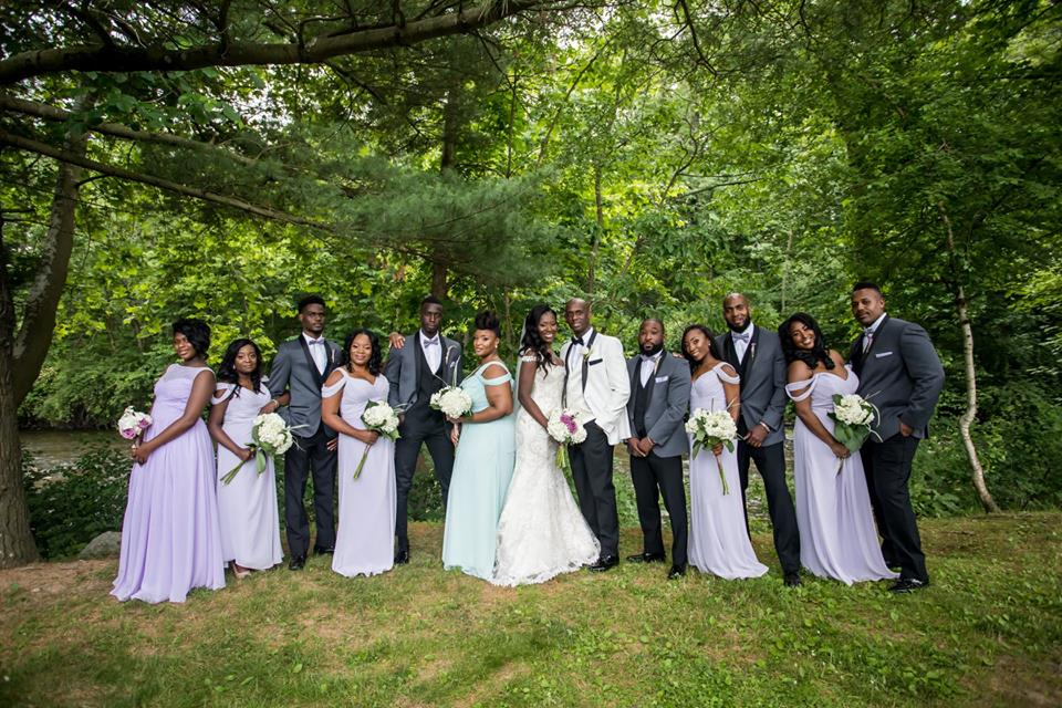 couple and bridal party