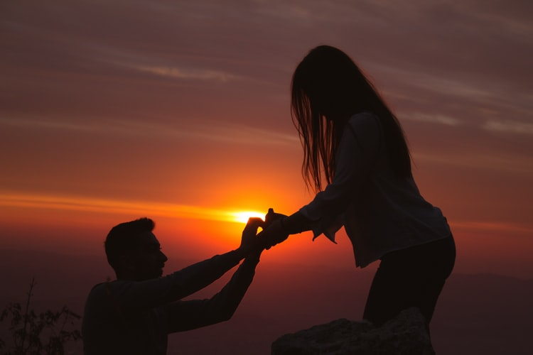 engagement during sunset