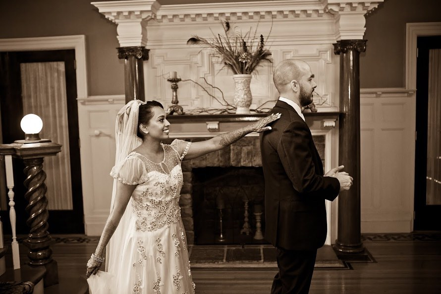 bride and groom wedding day photography first look